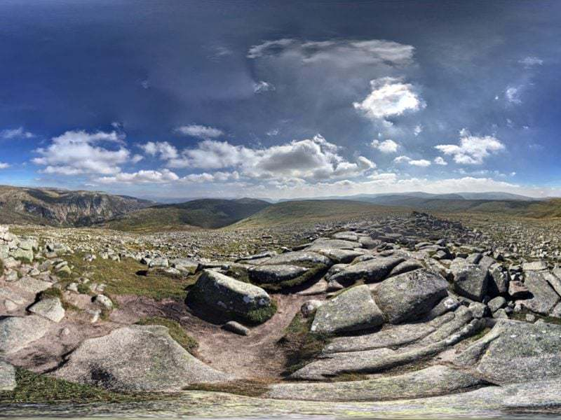 Panorama shot from the summit of Cairn Bannoch. The Cairngorms, Scotland.